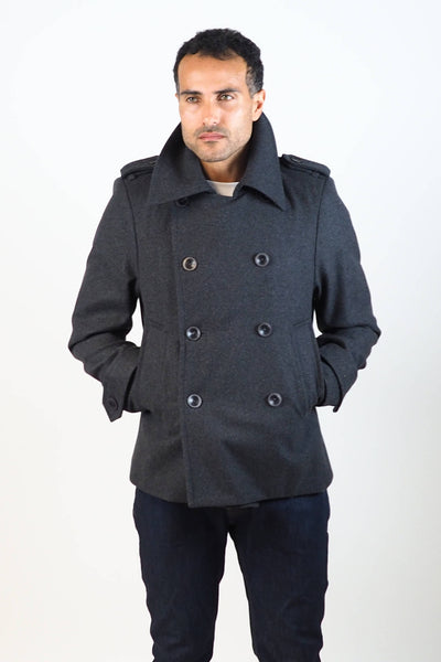 Upside Cyclestyle Men's Wool Peacoat in Charcoal on model - buttoned
