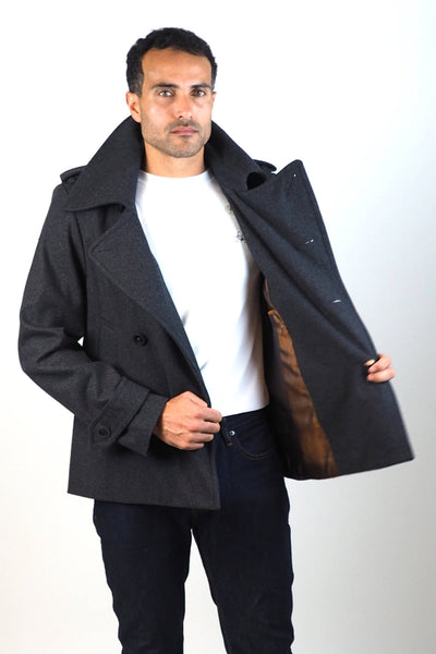 Upside Cyclestyle Men's Wool Peacoat in Charcoal on model - showing lining
