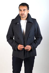 Upside Cyclestyle Men's Wool Peacoat in Charcoal on model - unbuttoned