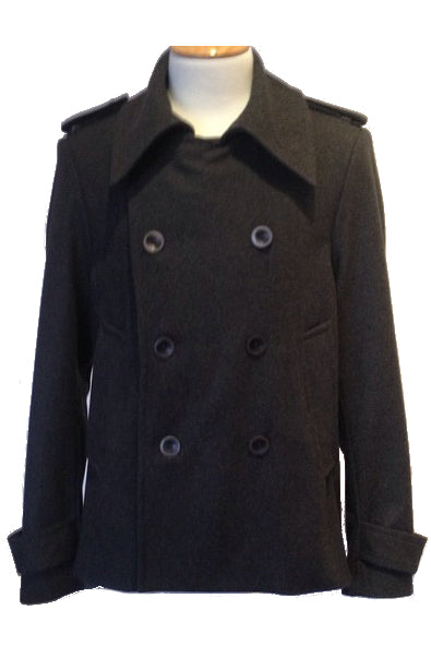 Upside Cyclestyle Men's Wool Peacoat in Charcoal