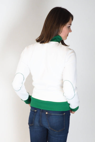 Upside Cyclestyle Women's Athletic Jacket in White & Kelly Green on model - rear view