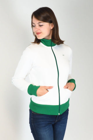 Upside Cyclestyle Women's Athletic Jacket in White & Kelly Green on model