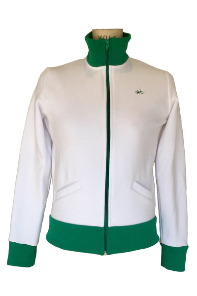 Upside Cyclestyle Women's Athletic Jacket in White & Kelly Green