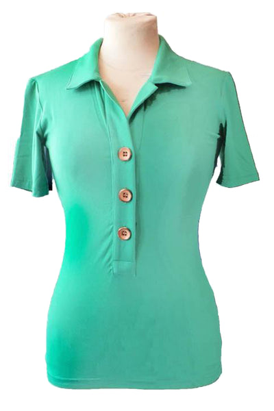 Upside Cyclestyle Women's Bamboo Polo Shirt in Kelly Green