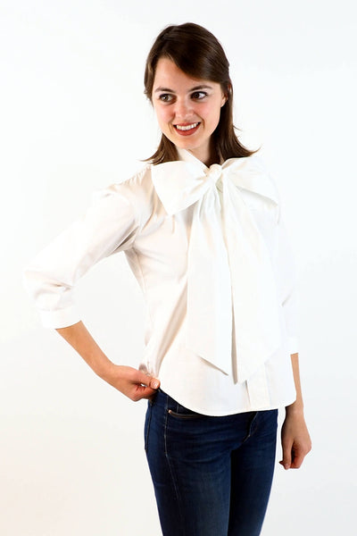 Upside Cyclestye Women's Bow Blouse in White on model