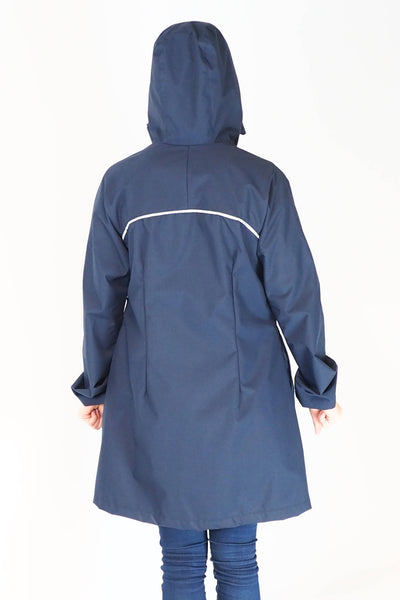 Upside Cyclestyle Women's Godet Coat in Navy Blue on model - rear view