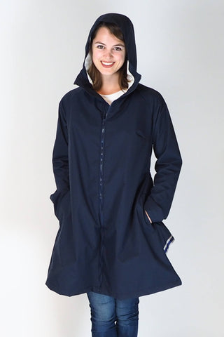 Upside Cyclestyle Women's Godet Coat in Navy Blue on model