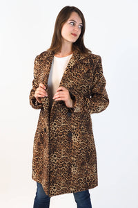 Upside Cyclestyle Women's Leopard Print Coat on model - 3/4 view