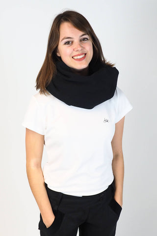Upside Cyclestyle Loop Scarf in Black on model