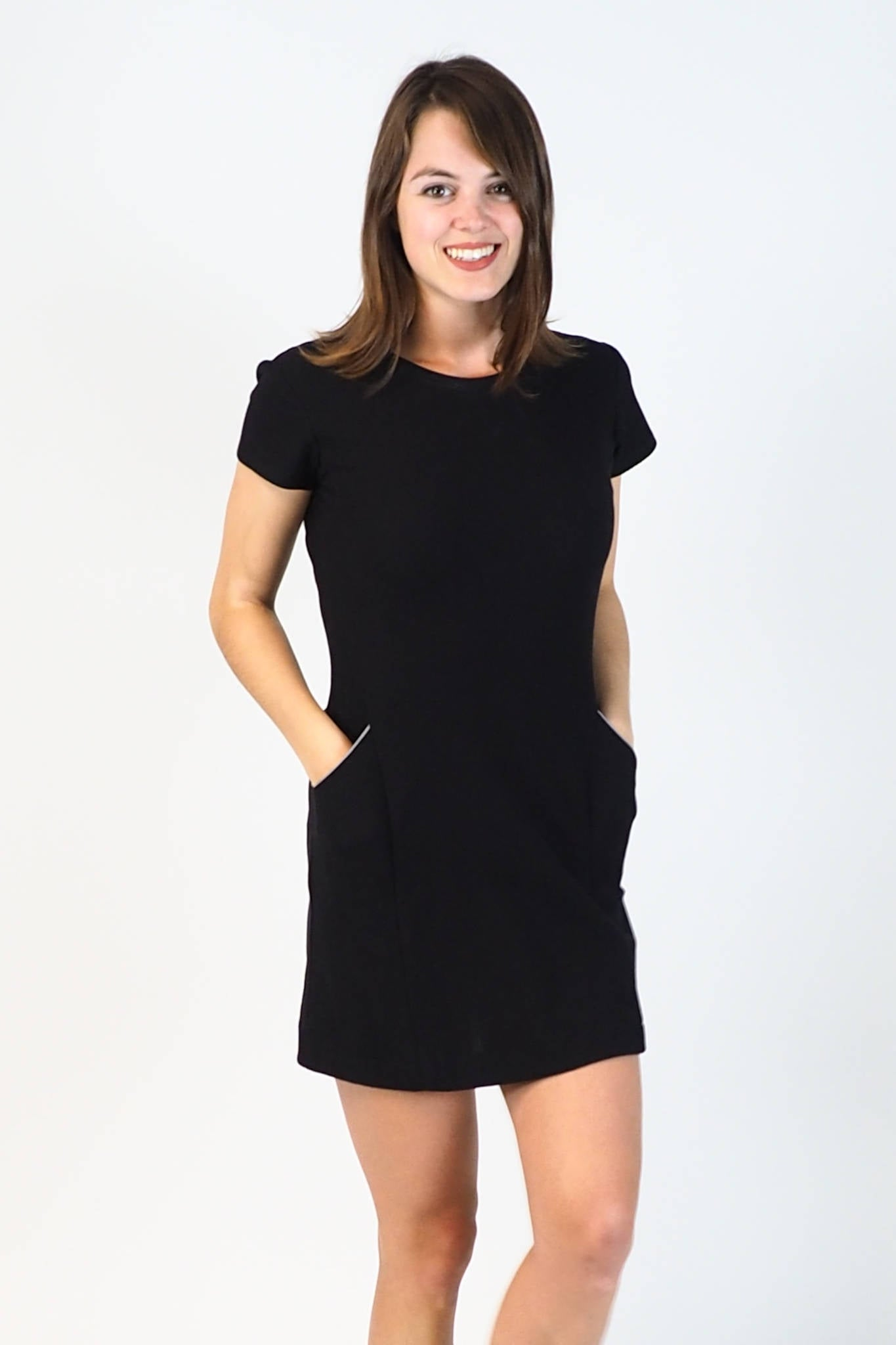 Upside Cyclestyle Women's Tennis Dress in Black Cotton on model