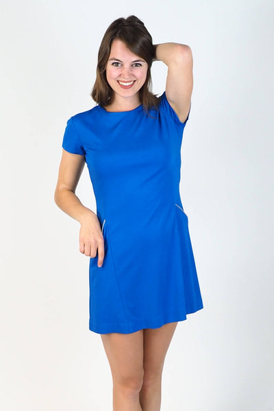 Upside Cyclestyle Women's Tennis Dress in Blue Ponte on model