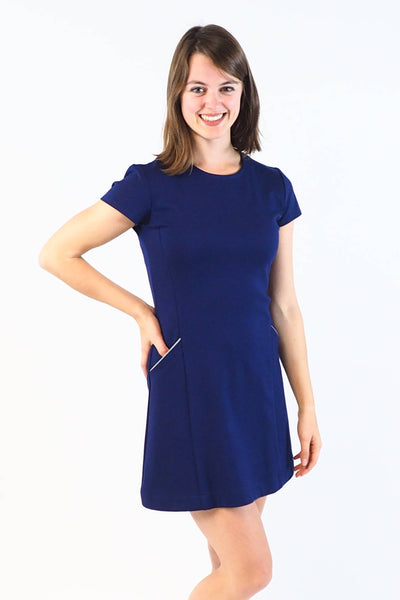 Upside Cyclestyle Women's Tennis Dress in Indigo Ponte on model