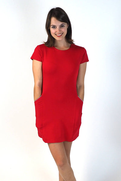 Upside Cyclestyle Women's Tennis Dress in Red Ponte on model