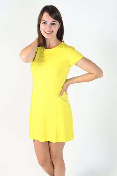 Upside Cyclestyle Women's Tennis Dress in Yellow Ponte on model