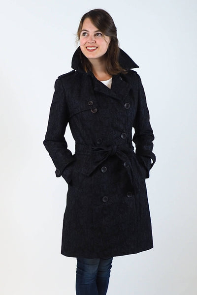 Upside Cyclestyle Women's Trench Coat in Navy on model with collar up