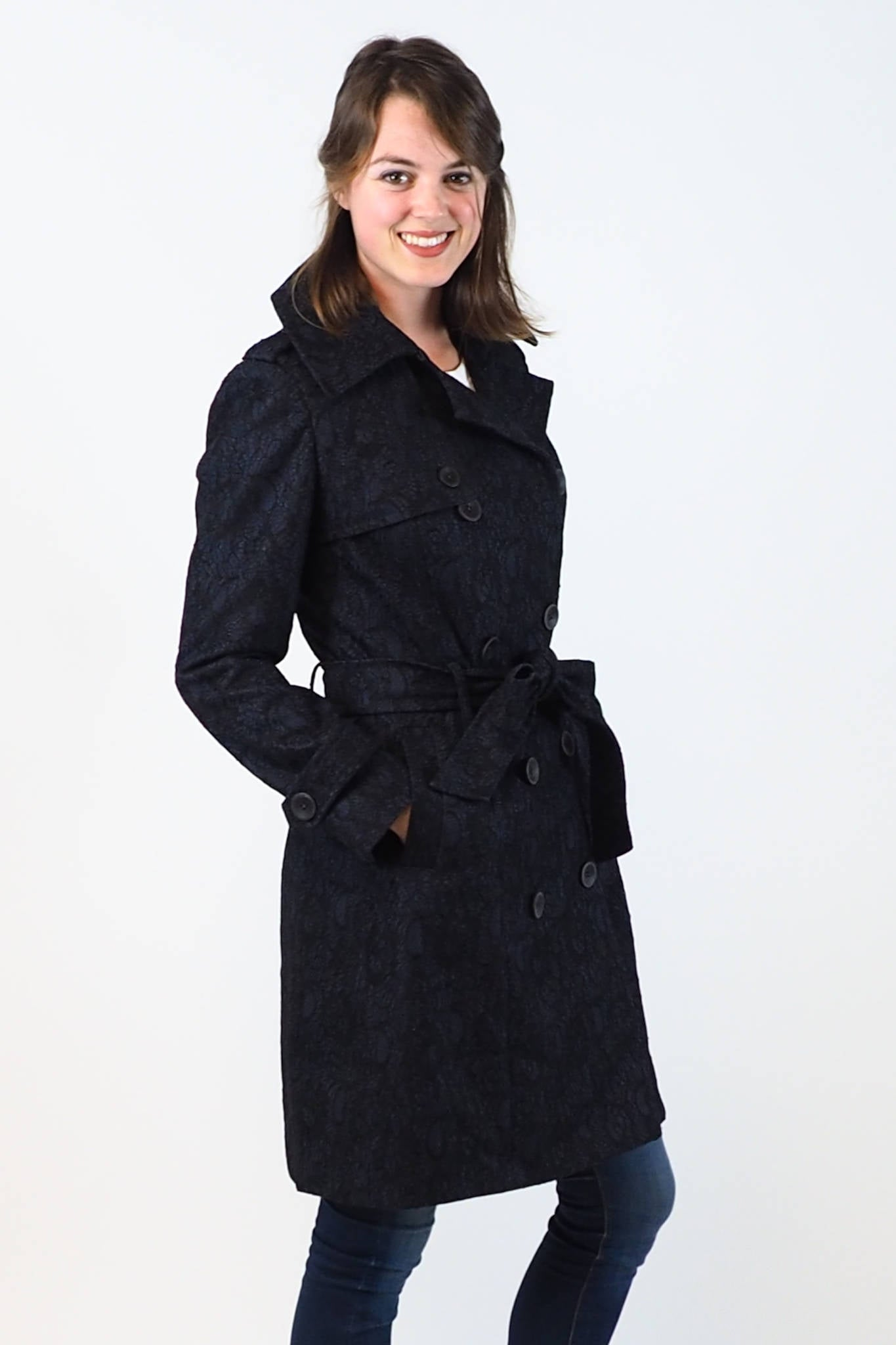 Upside Cyclestyle Women's Trench Coat in Navy on model - side view