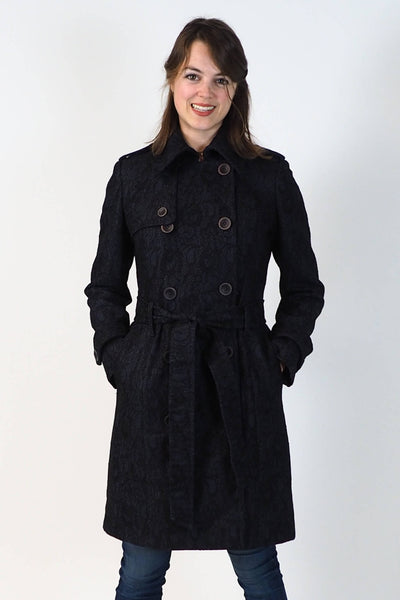 Upside Cyclestyle Women's Trench Coat in Navy on model buttoned closed