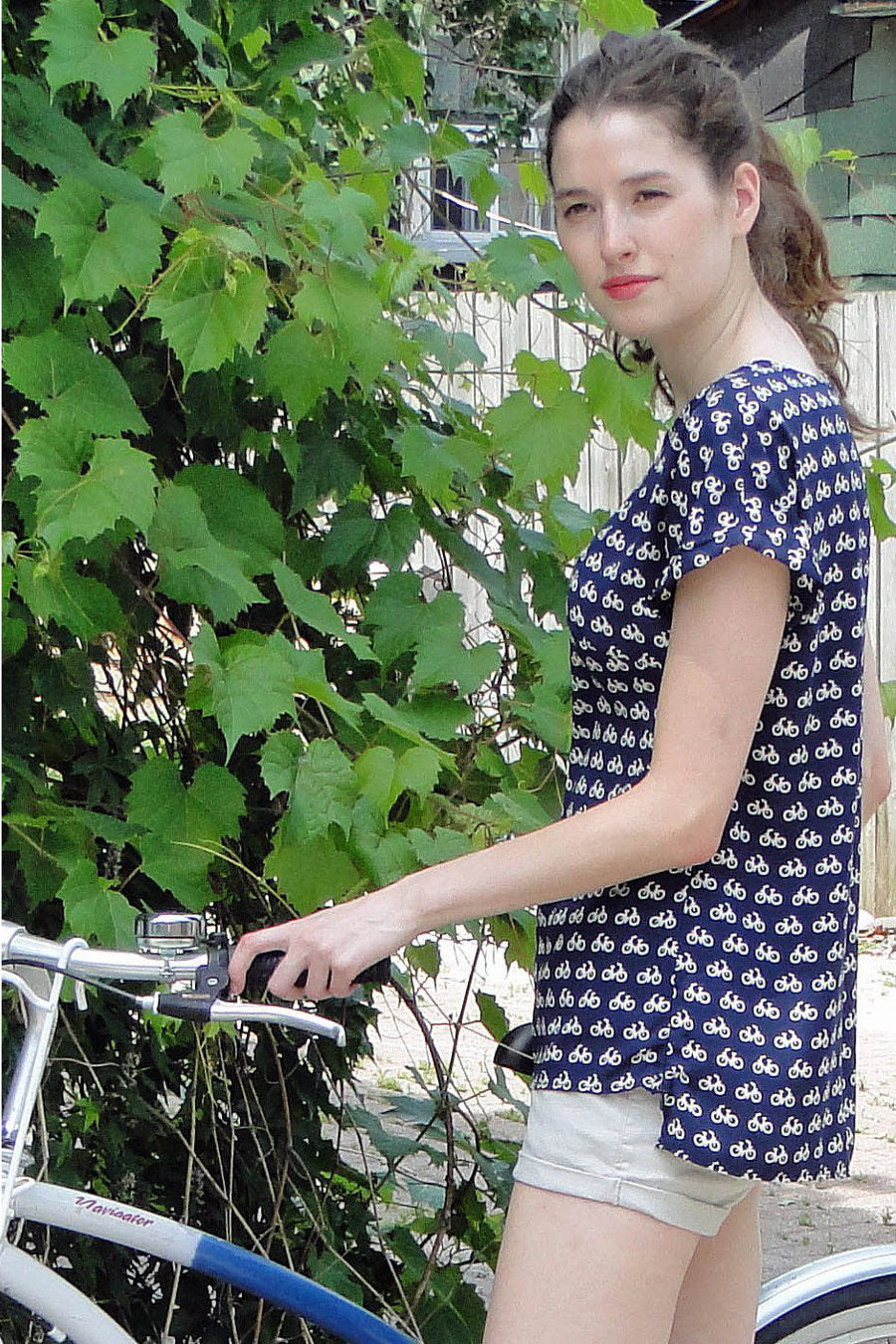 Upside Women's Bicycle Print Blouse in Navy on model