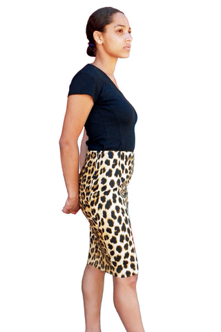 Upside Cyclestyle Women's Pencil Skirt in Leopard on model