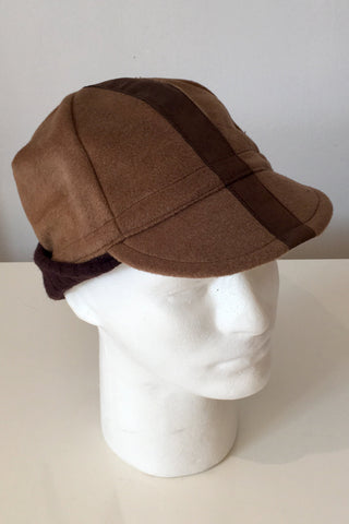 Upside Cyclestyle Wool Cycling Cap with Ear Flaps in Honey Brown - side view