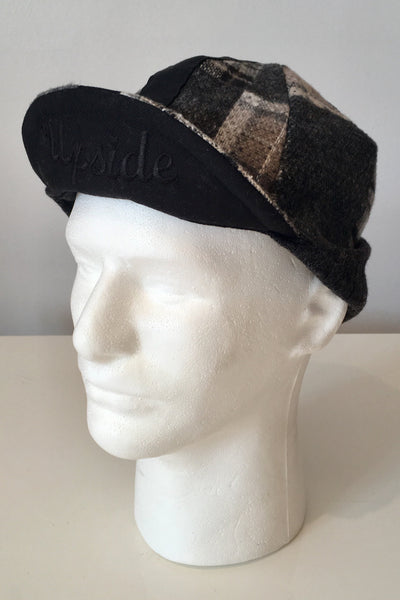 Upside Cyclestyle Wool Cycling Cap with Ear Flaps in Plaid - side view