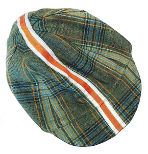 Upside Cyclestyle Wool Cycling Cap in Plaid with reflective construction stripe - top view