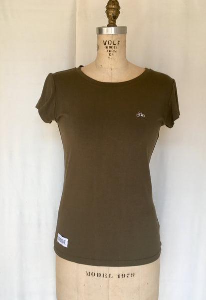 Upside Cyclestyle Women's Embroidered T-Shirt in Olive