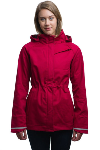 Upside Cyclestyle Women's Commuter Jacket in Red from Mia Melon on model