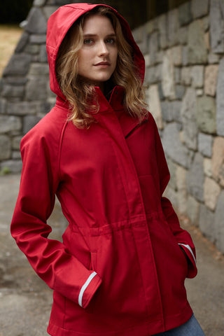 Upside Cyclestyle Women's Commuter Jacket in Red with hood up from Mia Melon