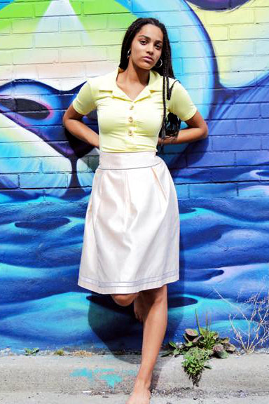 Upside Cyclestyle Silk Skirt on model