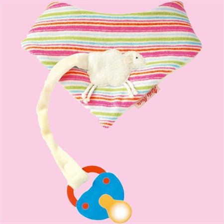 Kathe Kruse Lamb Natural Baby Bandana and Pacifier holder (baby bib)