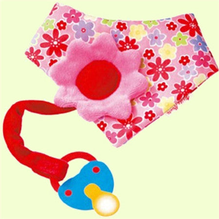 Kathe Kruse Flower Natural Baby Bandana and Pacifier holder (baby bib)