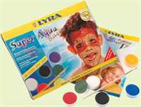 Lyra Face Paint - Super Aqua Basic Assortment watersoluble make-up for skin painting (face painting) - 6 colors