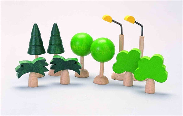 Plan Toys Set of Trees and Street Lights Plan City Train and Road Accessory Set