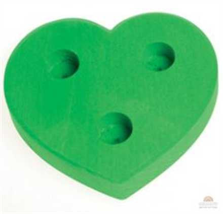 Grimm's Dark Green 3 hole Heart Lifelight Wooden Table Decoration