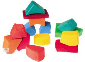 Grimm's 15 Large Wooden Colored Waldorf blocks Building Blocks in a Net