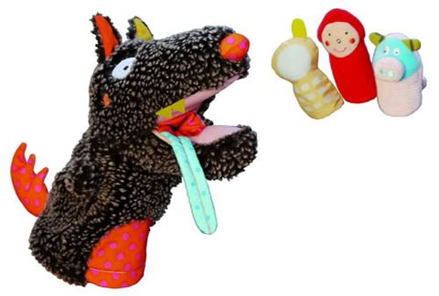 Ebulobo Wolf Hand Puppet with finger puppets