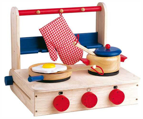 Estia Wooden Tabletop Play Cooker - Pretend Play Kitchen Stove with 2 Cook Tops