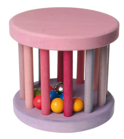 Grimm Pink Baby Rolling Wheel with bell and balls inside