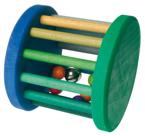 Grimm Blue and Green Baby Roller Wheel with bell and balls inside