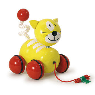 Vilac Sacha the Cat Yellow Wooden Pull toy