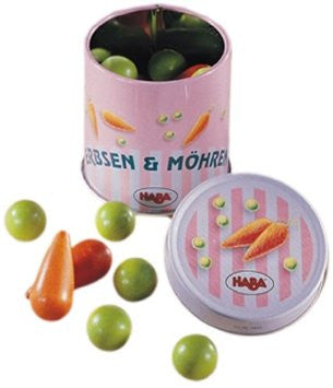 Haba Peas and Carrots in a tin can