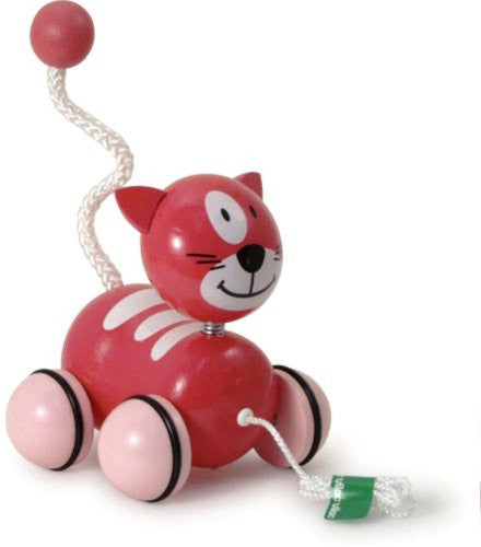 Vilac Sacha the Cat Pink Wooden Pull toy