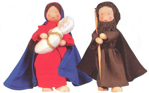 Mary Joseph and Baby Jesus - Holy Family flexible doll set (Nativity dolls)