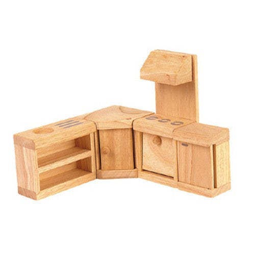 Plan Toys Dollhouse Kitchen Furniture - Classic, natural wooden dollhouse furniture