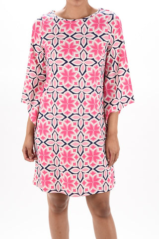 Aryeh Geometric Pink  Shift Dress