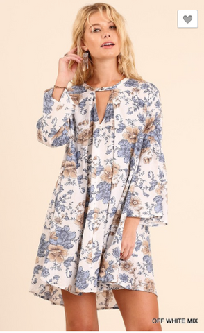 Blue Flower Tunic Top