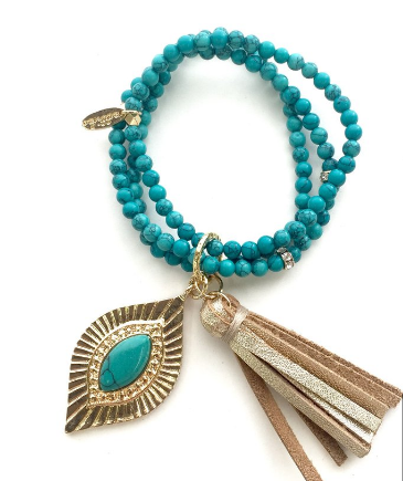 Hear Me Coming Bracelet in Dark Turquoise and Gold