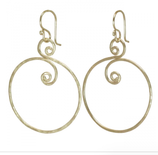 Artisian Calico Juno Spiral Swirly Hoop Dangle Earrings 14K GF, .925 or Rose GF