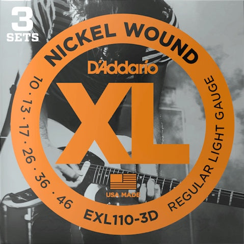 Electric EXL110-3D Nickel Wound Regular Light 3 Pack 10-46